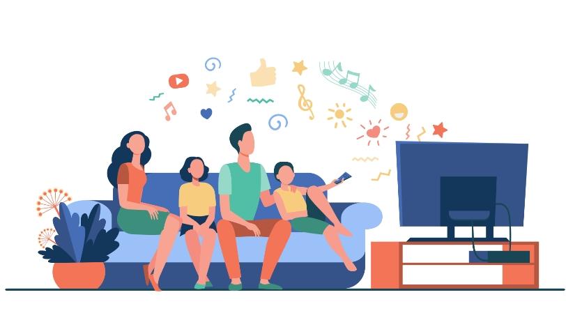 家族で動画を楽しむ